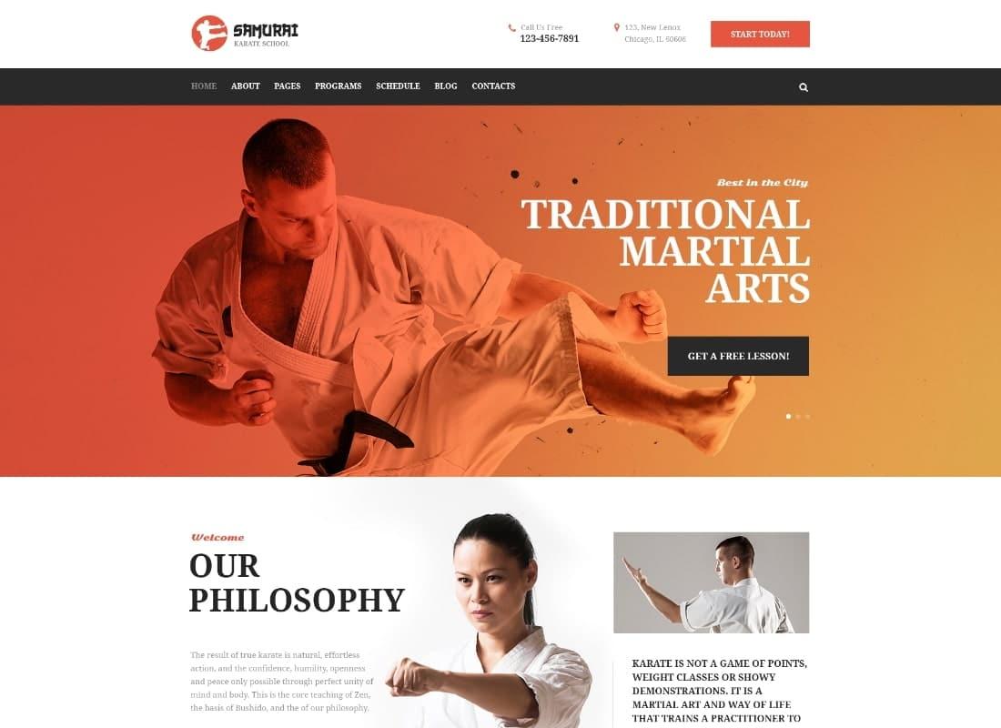 Samurai | Karate School and Fitness Center WordPress Theme Website Template