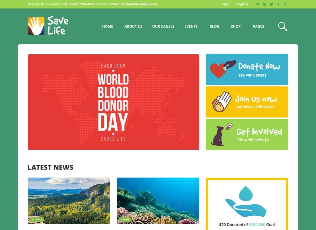 Save Life | Non-Profit, Charity & Donations WordPress Theme Website Template