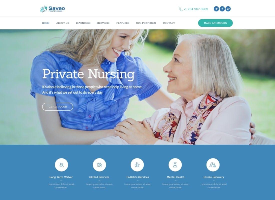 Saveo | In-home Care & Private Nursing Agency WordPress Theme Website Template