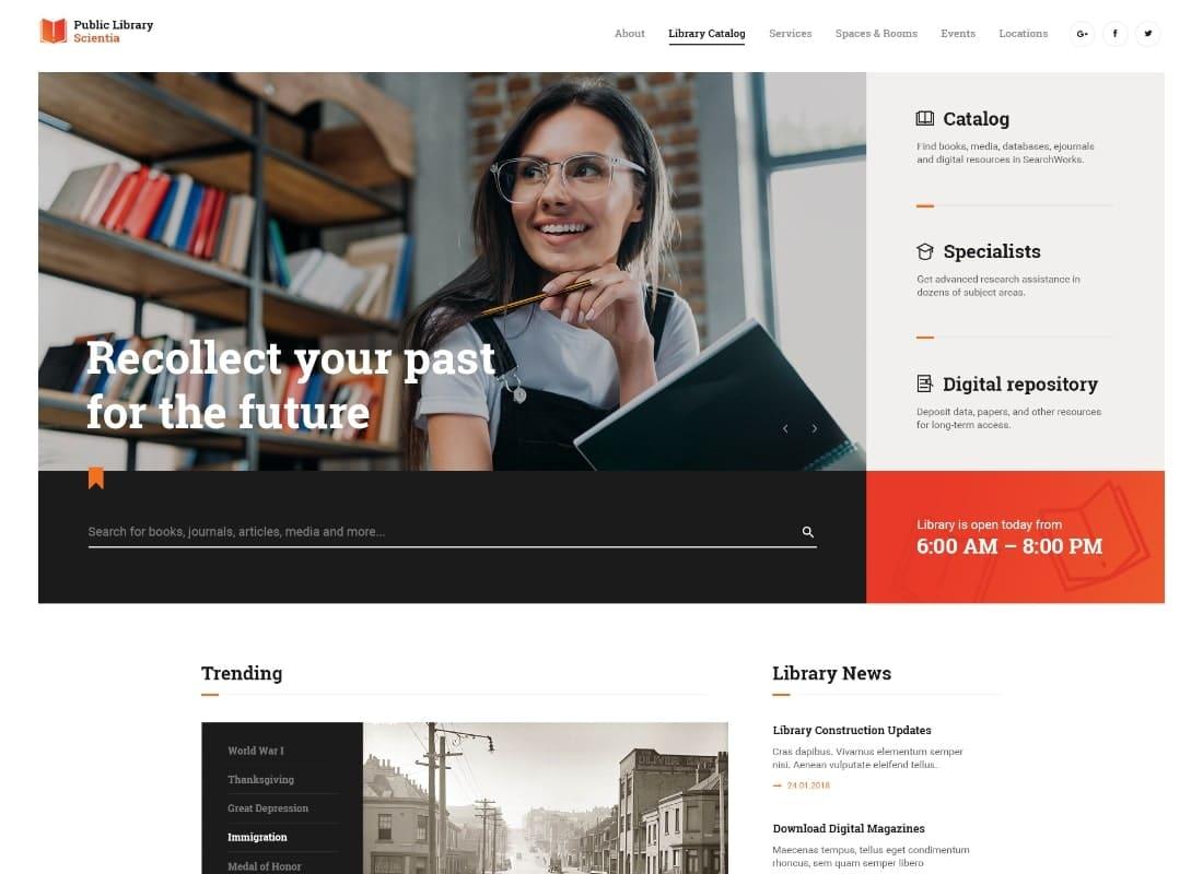 Scientia | Public Library & Book Store Education WordPress Theme Website Template