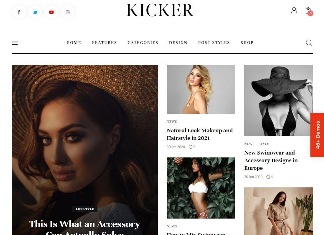 Kicker | Multipurpose Blog Magazine WordPress Theme + Gutenberg Website Template