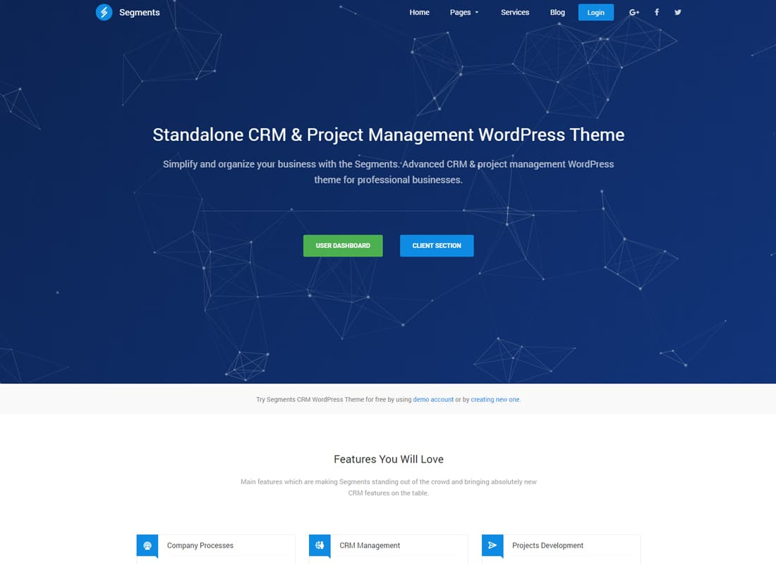 Segments - CRM & Project Management WordPress Theme Website Template