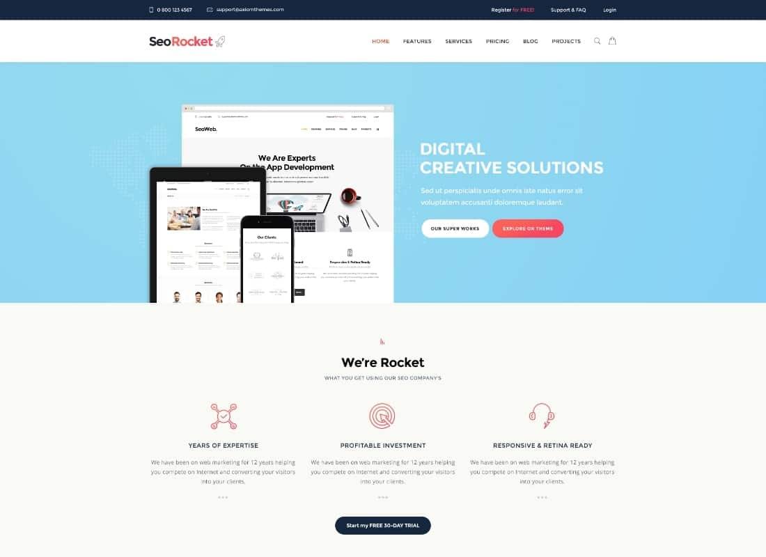Seo Rocket   SEO & Marketing WordPress Theme Website Template