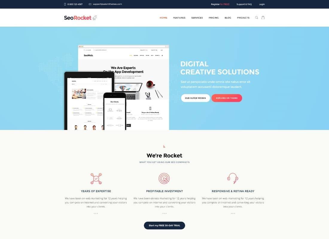 Seo Rocket | Advertising & Marketing WordPress Theme Website Template