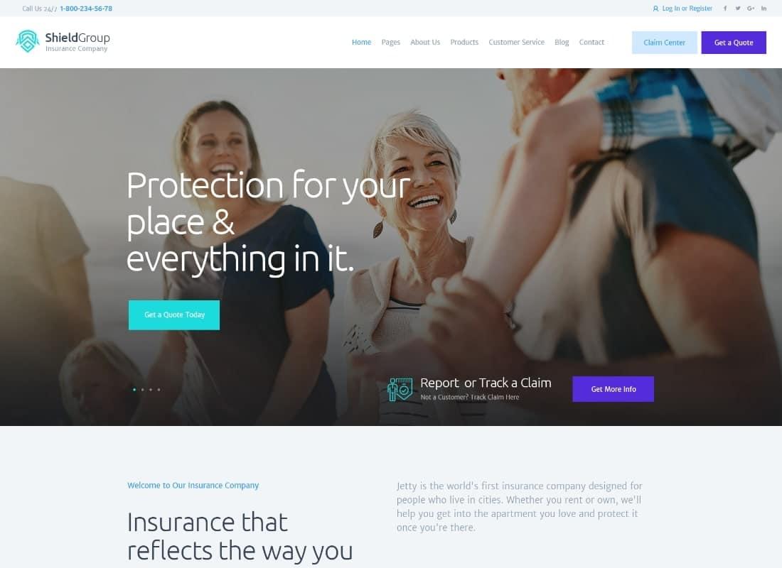ShieldGroup   An Insurance & Finance WordPress Theme Website Template