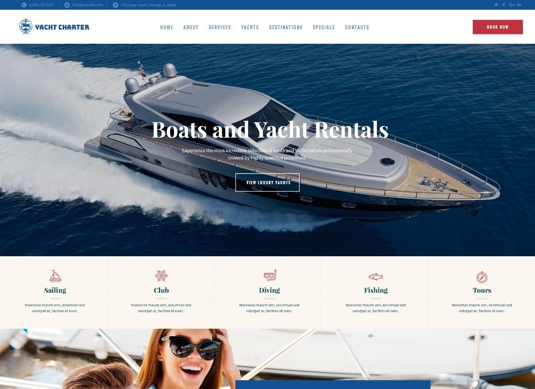 Sirene   Yacht Charter Services & Boat Rental WordPress Theme Website Template