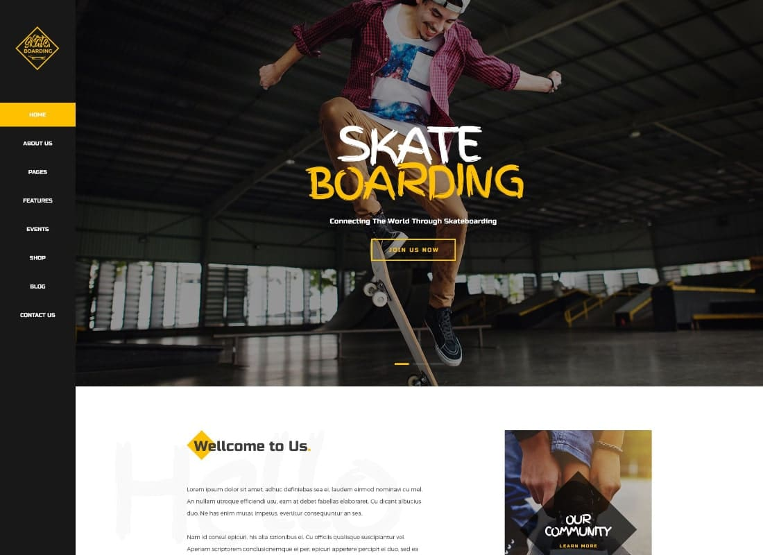 Skateboarding Community & Store WordPress Theme Website Template
