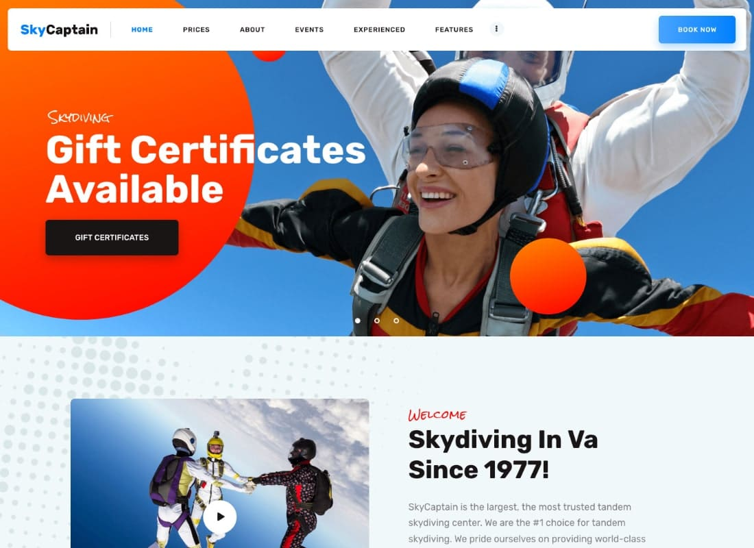 SkyCaptain | Skydiving & Extreme Flying Sports WordPress Theme Website Template