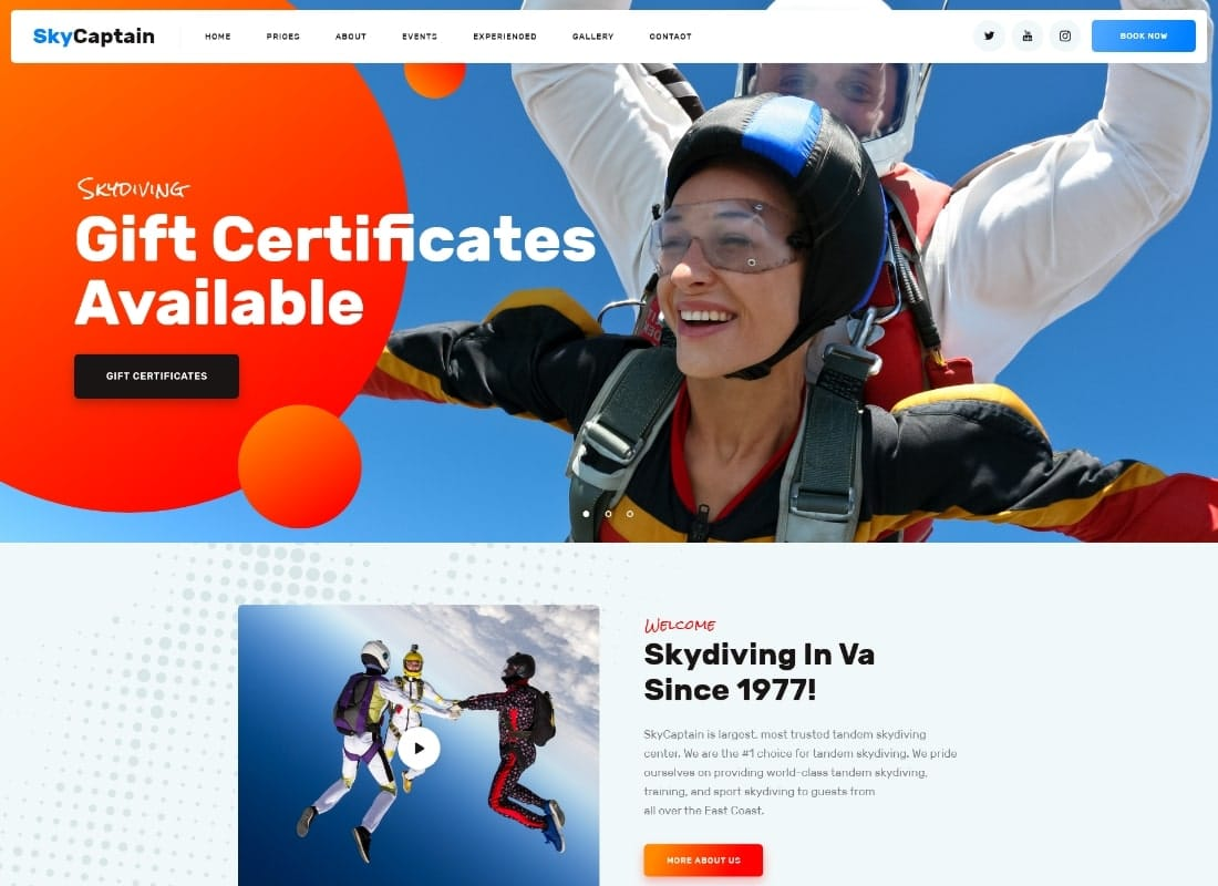 SkyCaptain   Skydiving & Extreme Flying Sports WordPress Theme Website Template