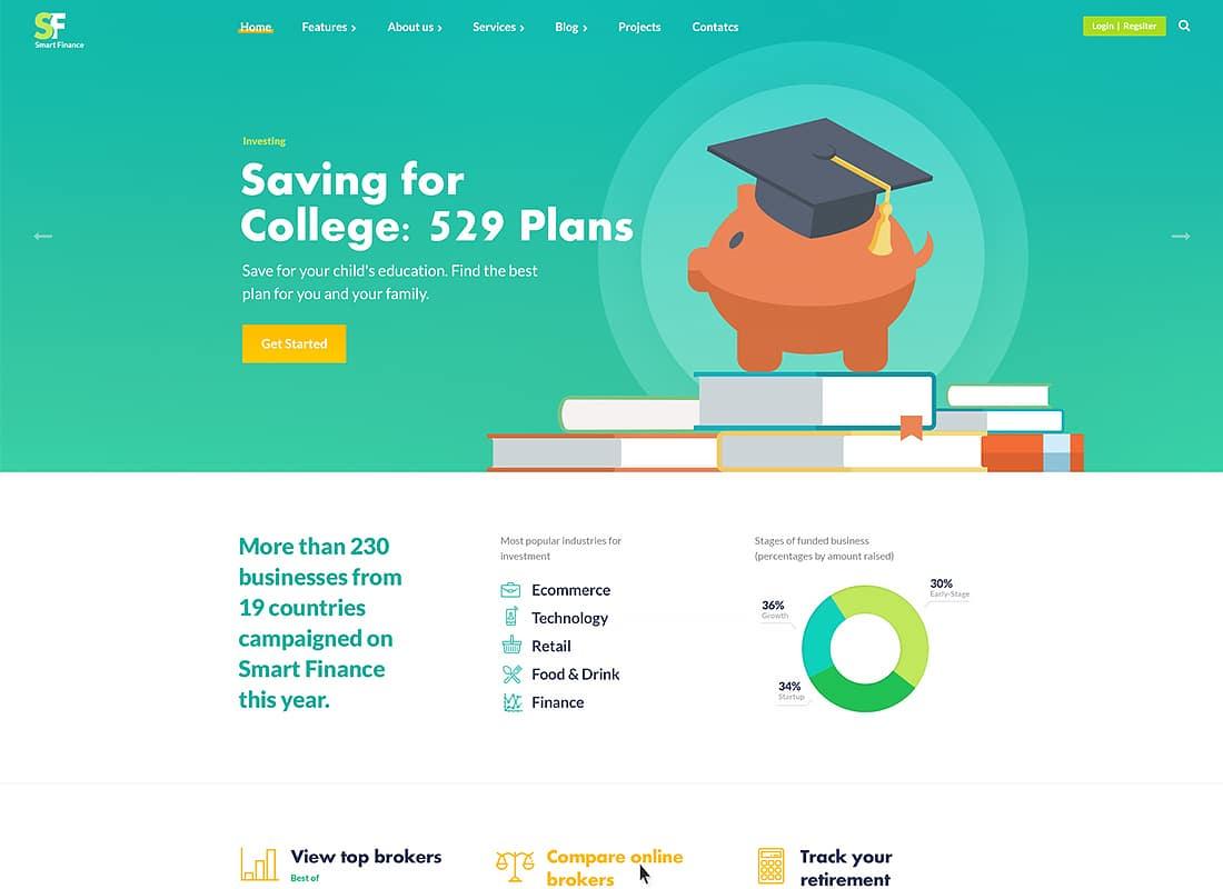 Smart Finance | Accounting & Tax Help WordPress Theme Website Template
