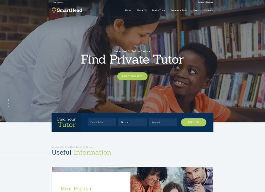 SmartHead | Tutoring Service & Online School WordPress Theme Website Template