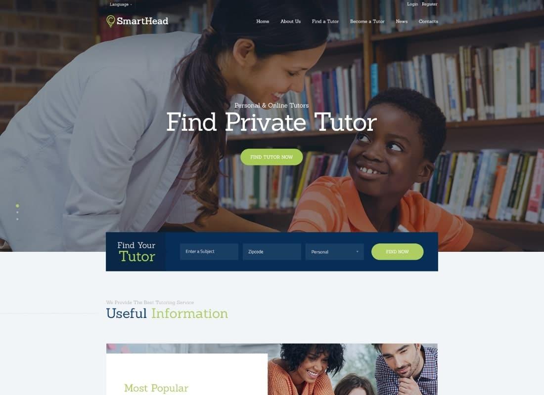 SmartHead | Tutoring Service & Online School Education WordPress Theme Website Template