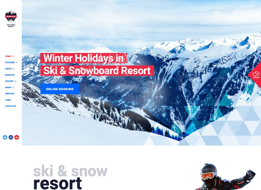 Snow Club | Ski Resort and Snowboard Classes WordPress Theme Website Template