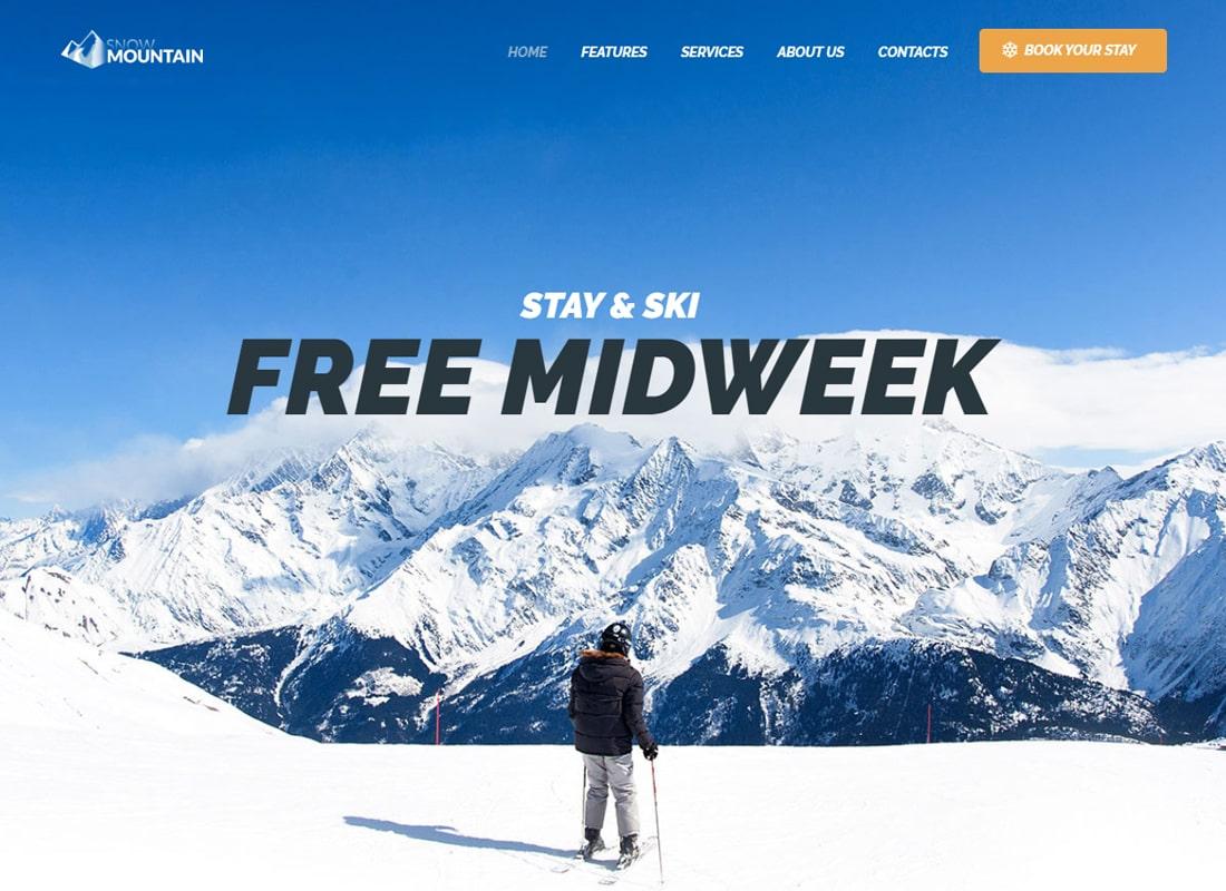 Snow Mountain | Ski Resort & Snowboard School WordPress Theme Website Template