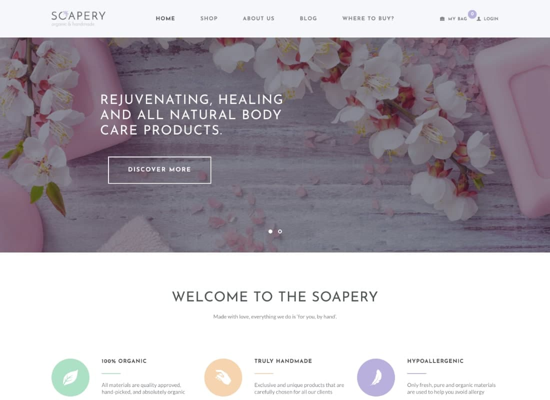 Soapery - Handmade Soap & Handcrafted Products Shop WordPress Theme Website Template