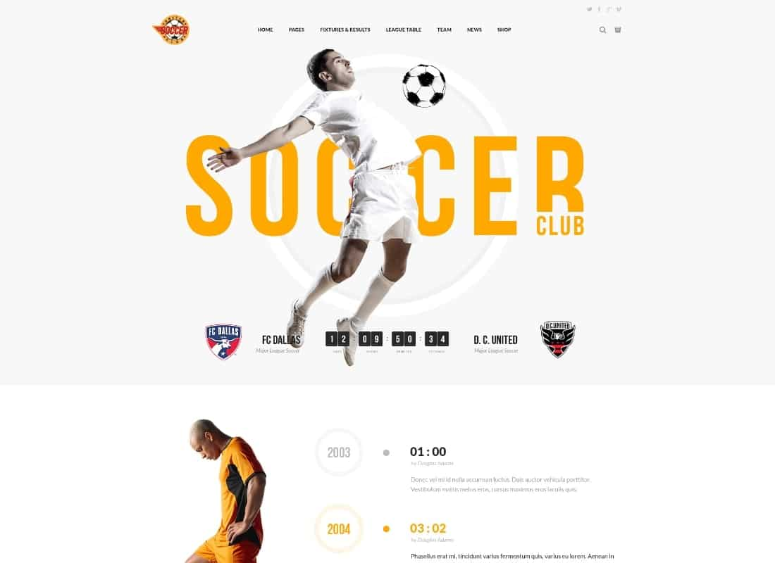Soccer Club - Football Team WordPress Theme Website Template