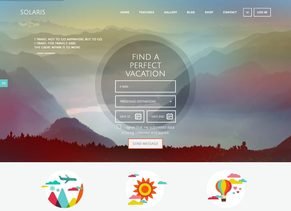 Solaris | Travel Agency and Tour Booking Tourism WordPress Theme Website Template
