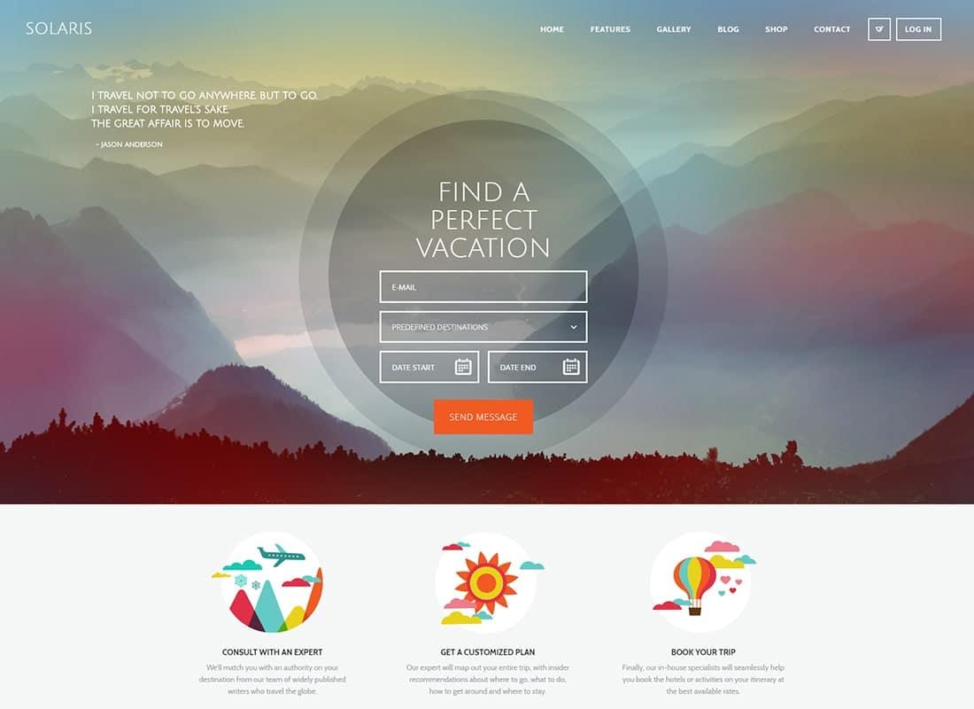 Solaris | Travel Agency WordPress Theme Website Template