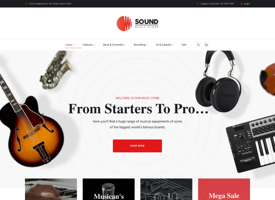 Sound | Musical Instruments Online Store WordPress Theme Website Template