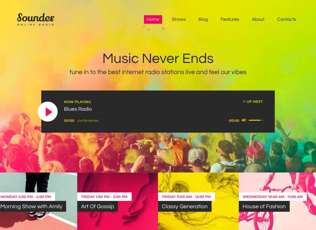 Sounder | Online Internet Radio Station WordPress Theme Website Template