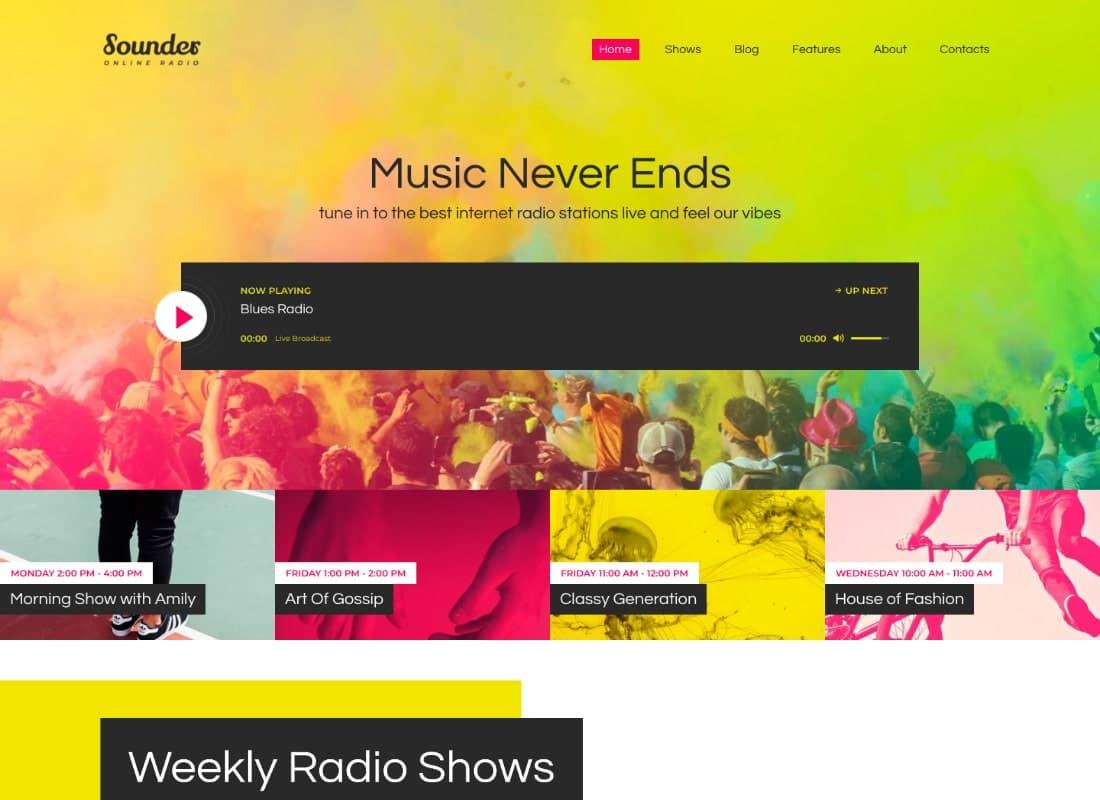 Sounder | Online Radio WordPress Theme Website Template