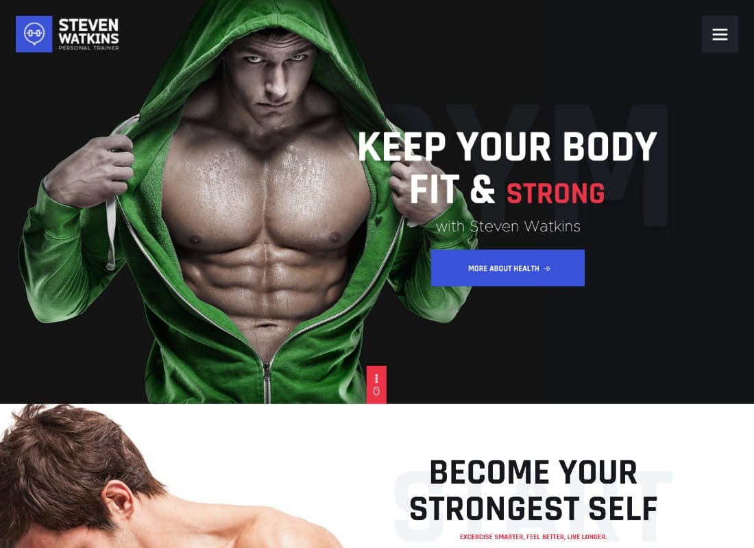 Steven Watkins | Personal Gym Trainer & Nutrition Coach WordPress Theme Website Template