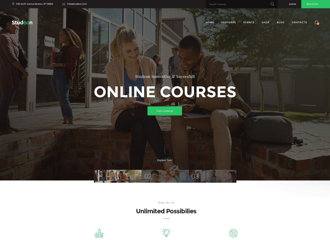 Studeon | An Education Center & Training Courses WordPress Theme  Website Template