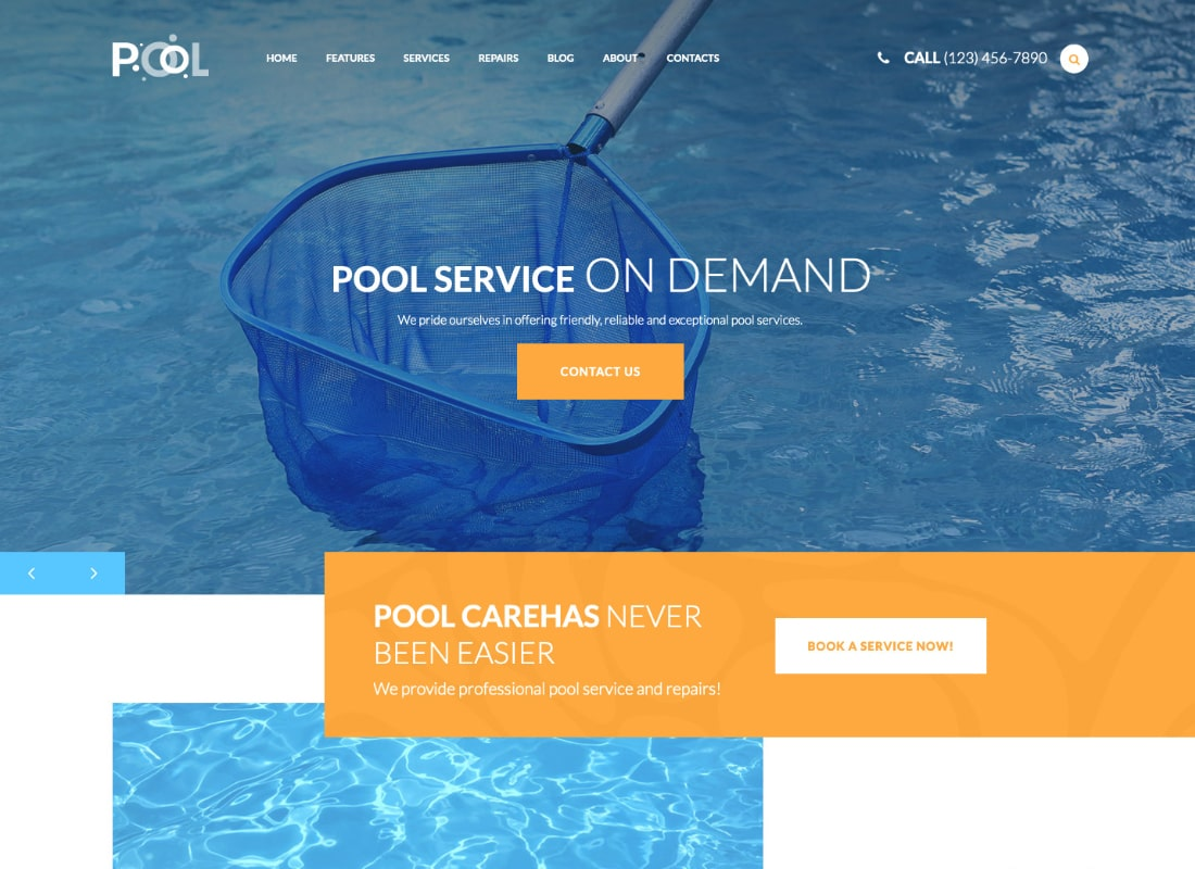 Swimming Pool Maintenance & Cleaning Services WordPress Theme Website Template