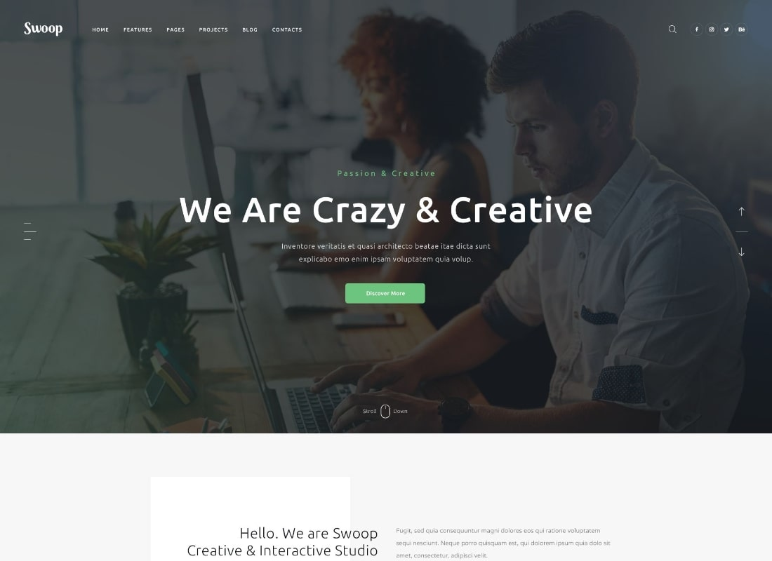 Swoop   Web Studio & Creative Agency WordPress Theme Website Template