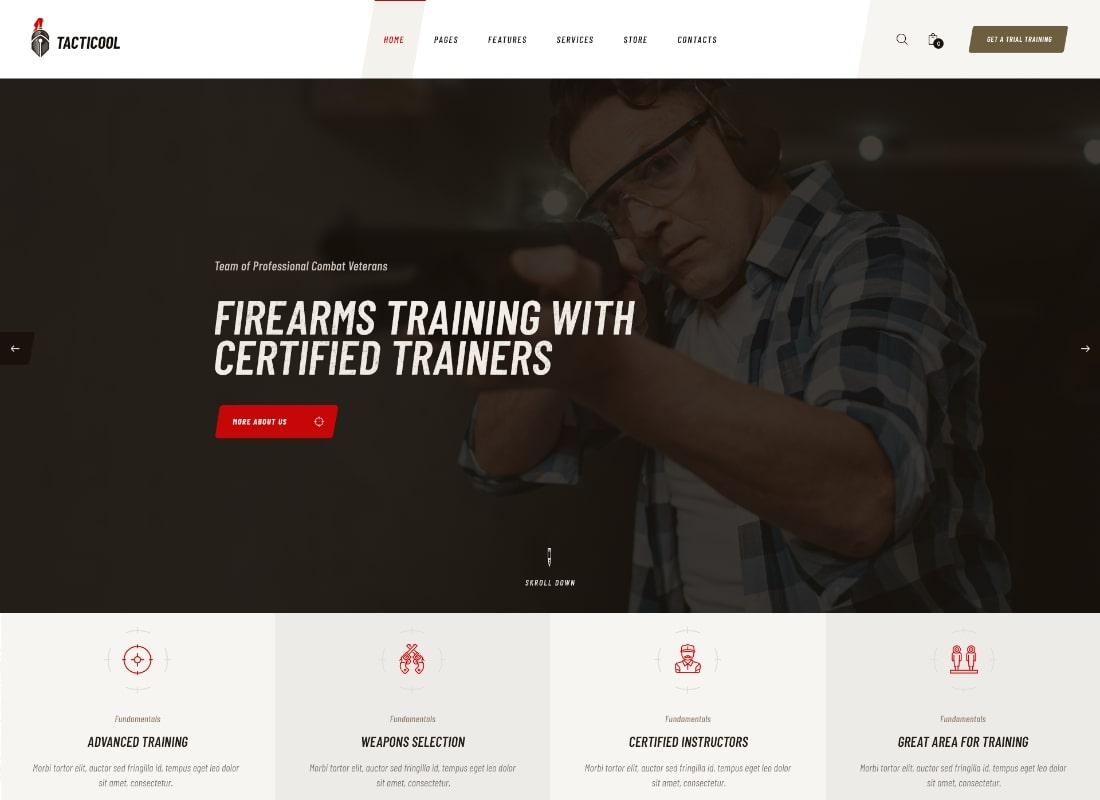 Tacticool   Shooting Range & Gun Store WordPress Theme Website Template