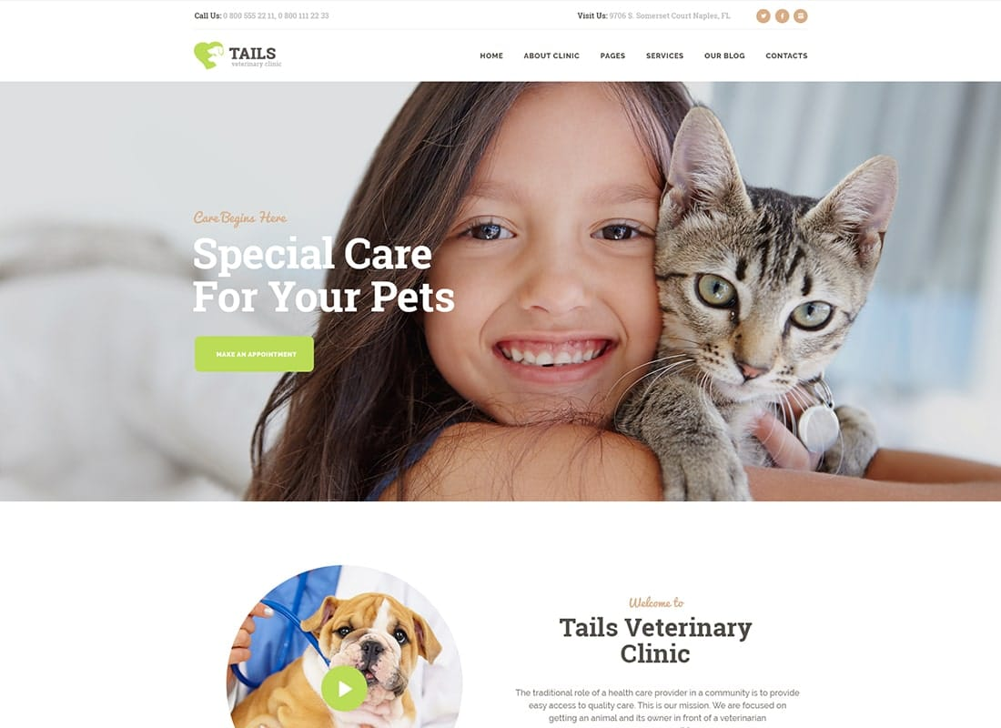 Tails | Veterinary Clinic, Pet Care & Shop WordPress Theme Website Template