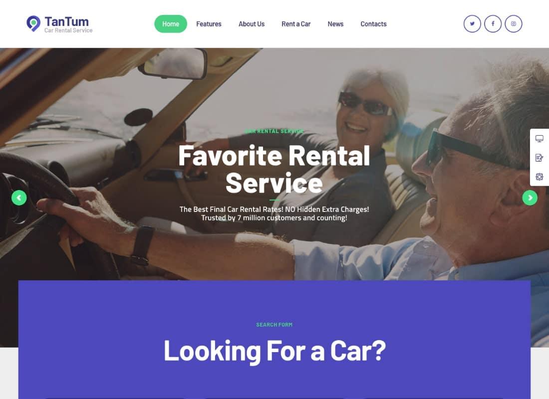 TanTum | Car, Scooter, Boat & Bike Rental Services WordPress Theme Website Template