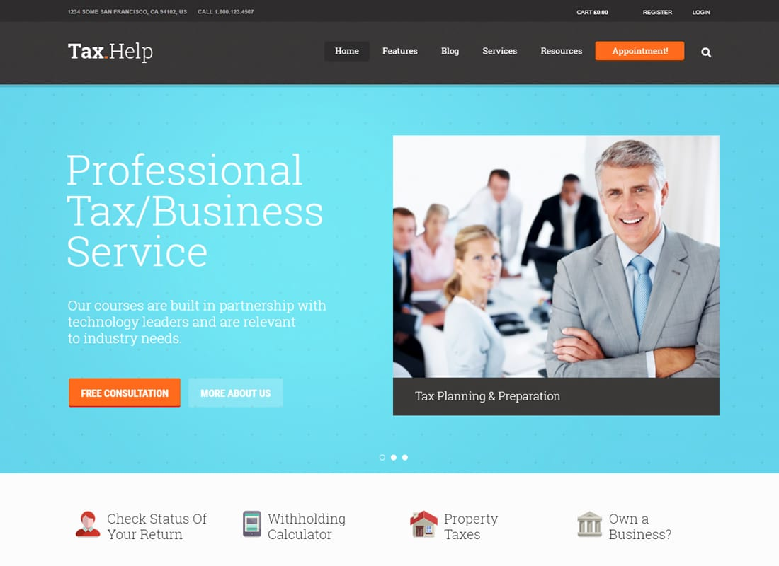 Tax Help | Finance & Accounting WordPress Theme Website Template