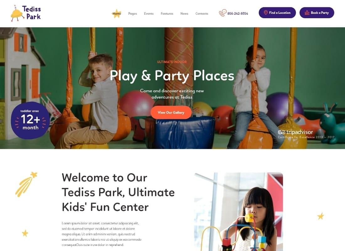Tediss   Play Area & Child Care Center WordPress Theme Website Template