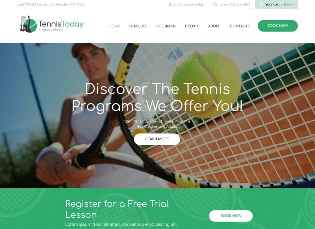 Tennis Today | Sport School & Events WordPress Theme Website Template