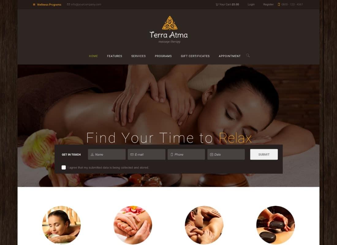 Terra Atma | Spa & Massage Salon Wellness WordPress Theme Website Template