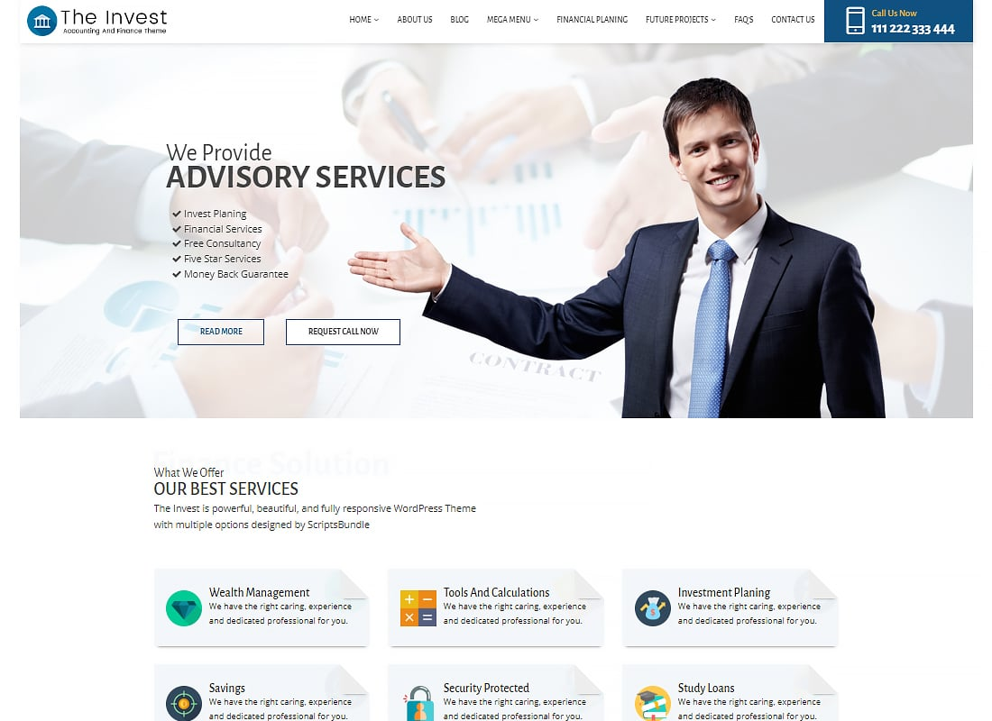 The Invest - Professional Services and Finance WordPress Theme Website Template