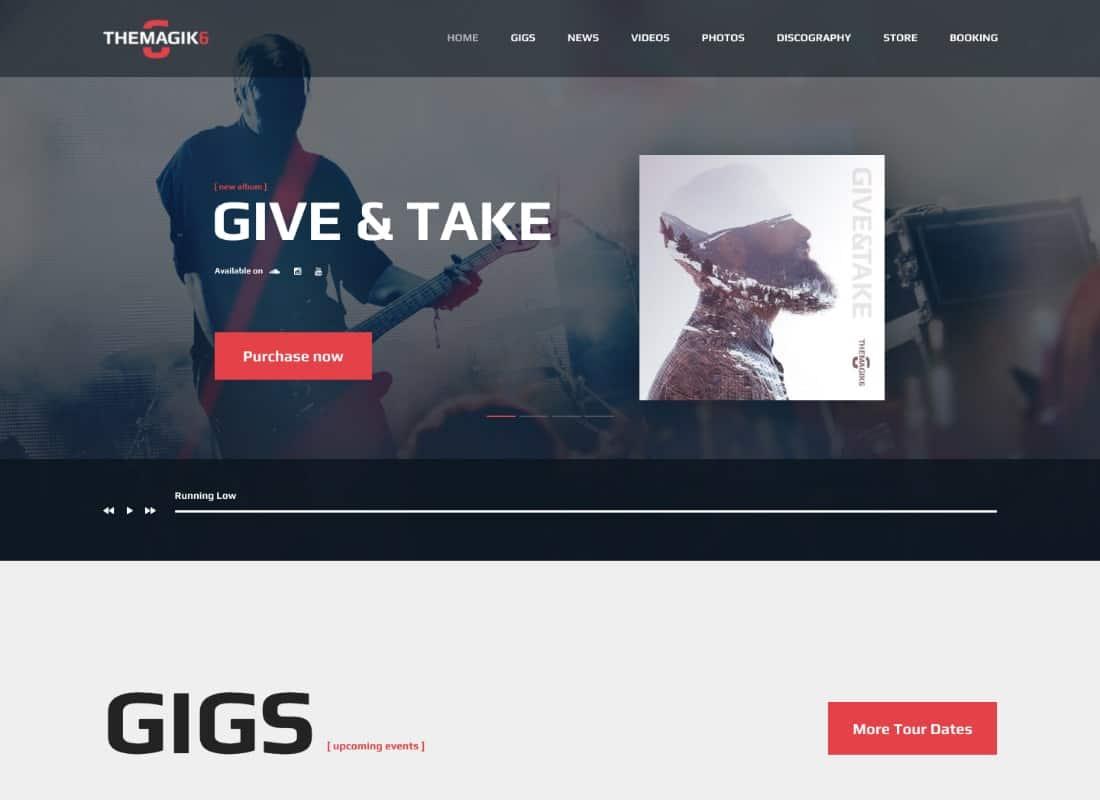 The Magic 6 - Music Band & Musician Artist WordPress Theme Website Template