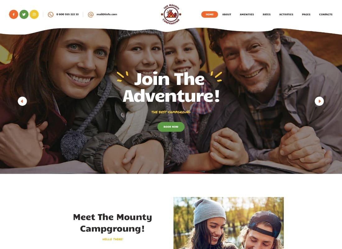 The Mounty | Campground & Camping WordPress Theme Website Template