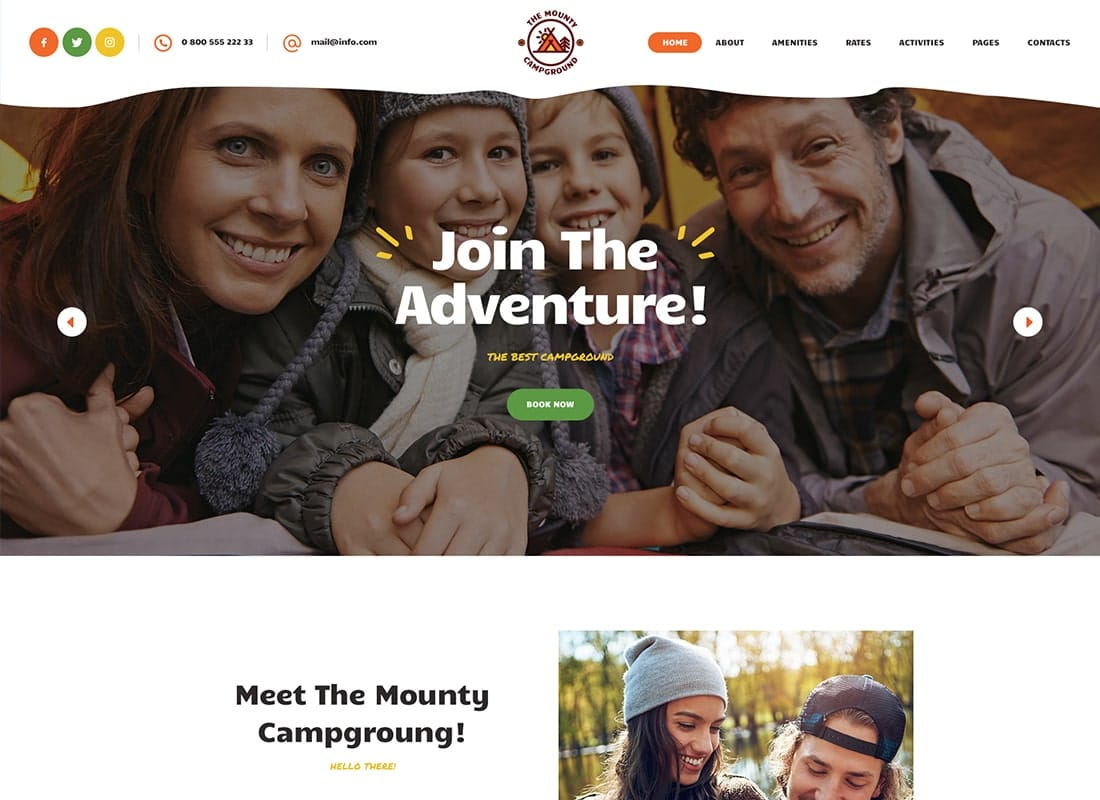 The Mounty | Hiking Campground & Children Camping WordPress Theme Website Template