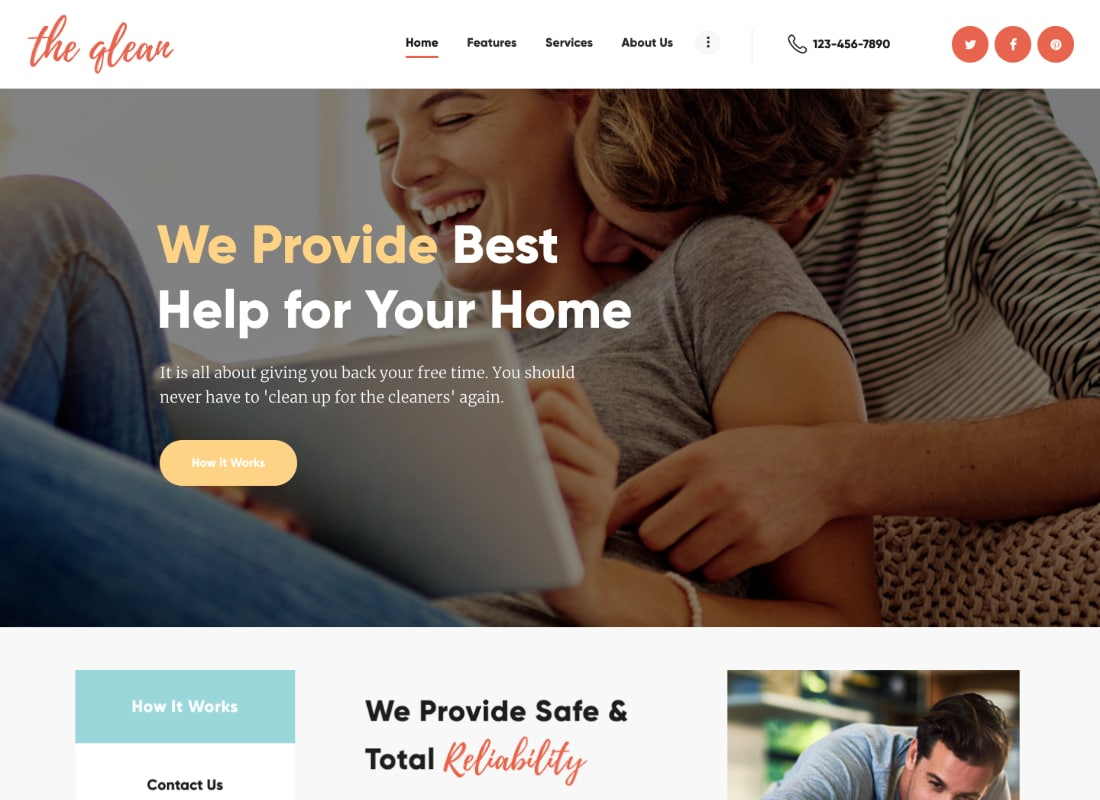The Qlean | Housekeeping: Washing & Cleaning Company WordPress Theme Website Template