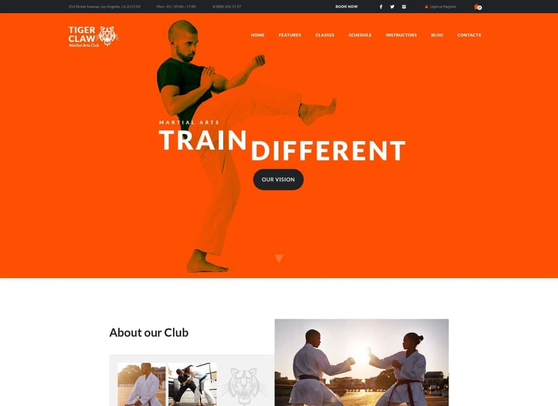 Tiger Claw | Martial Arts School and Fitness Center WordPress Theme Website Template