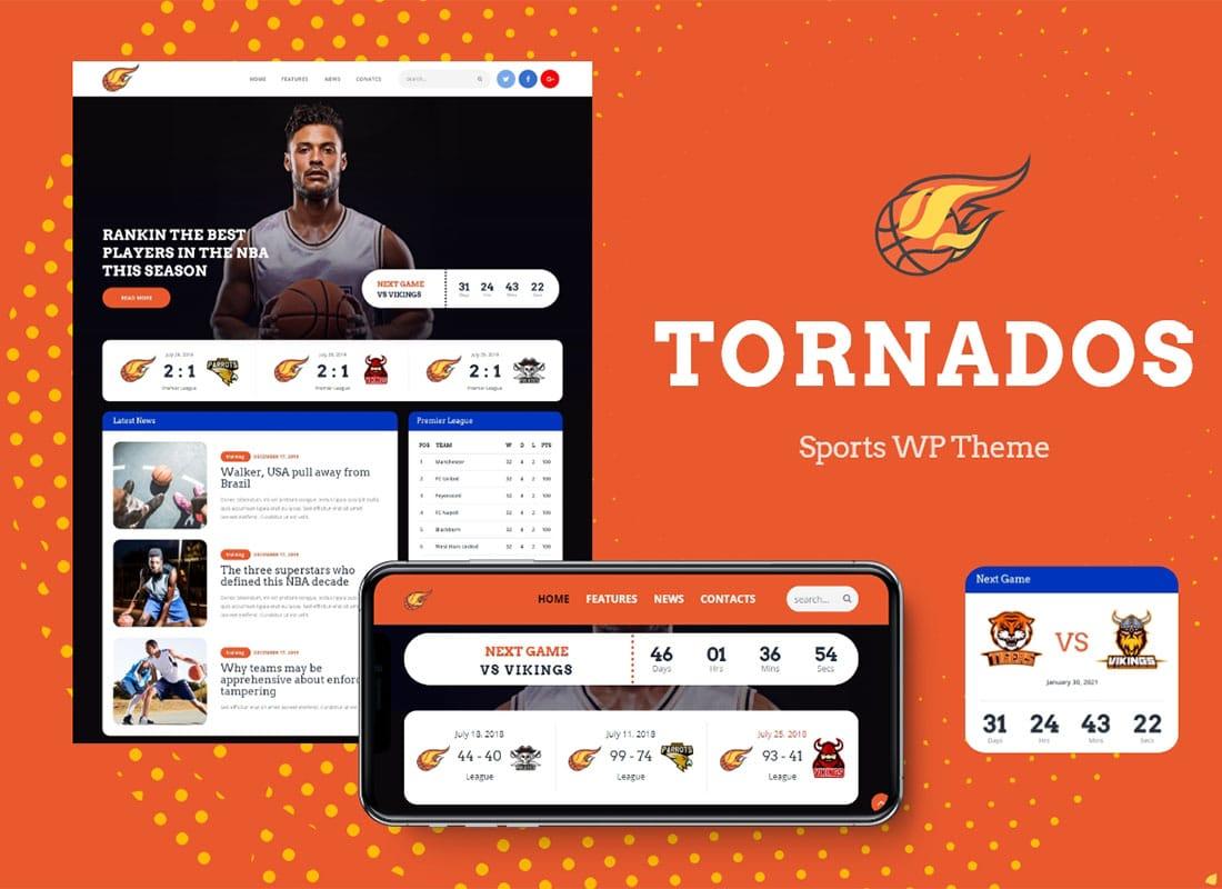 Tornados | Basketball NBA Team WordPress Theme Website Template