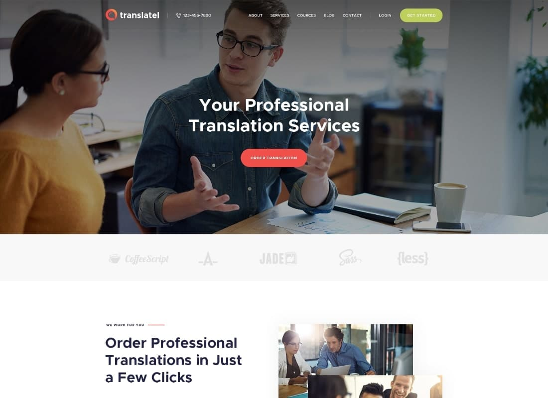 Translang | Translation Services & Language Courses WordPress Theme Website Template