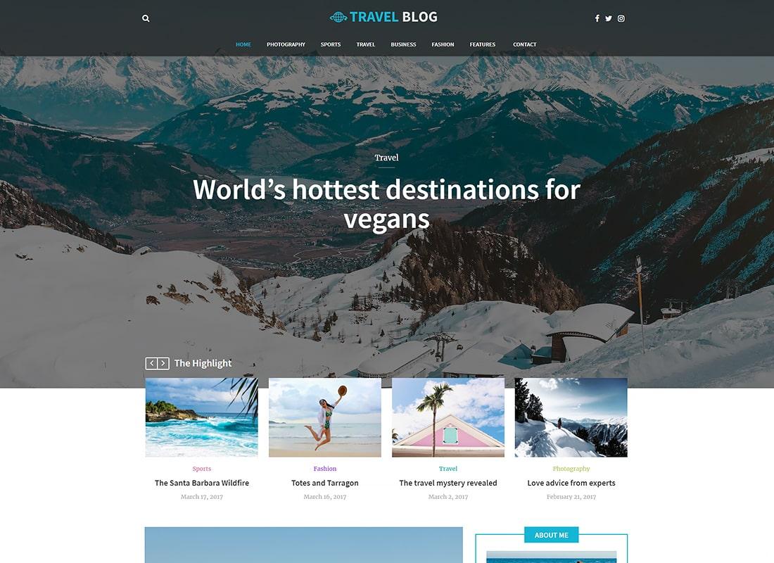 Travel Blog | Travel Blog WordPress Theme Website Template
