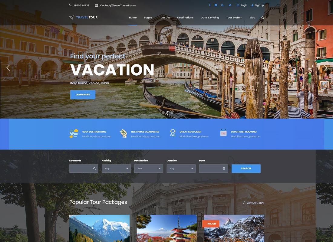 Travel Tour - Tour Booking, Travel Booking WordPress Theme Website Template