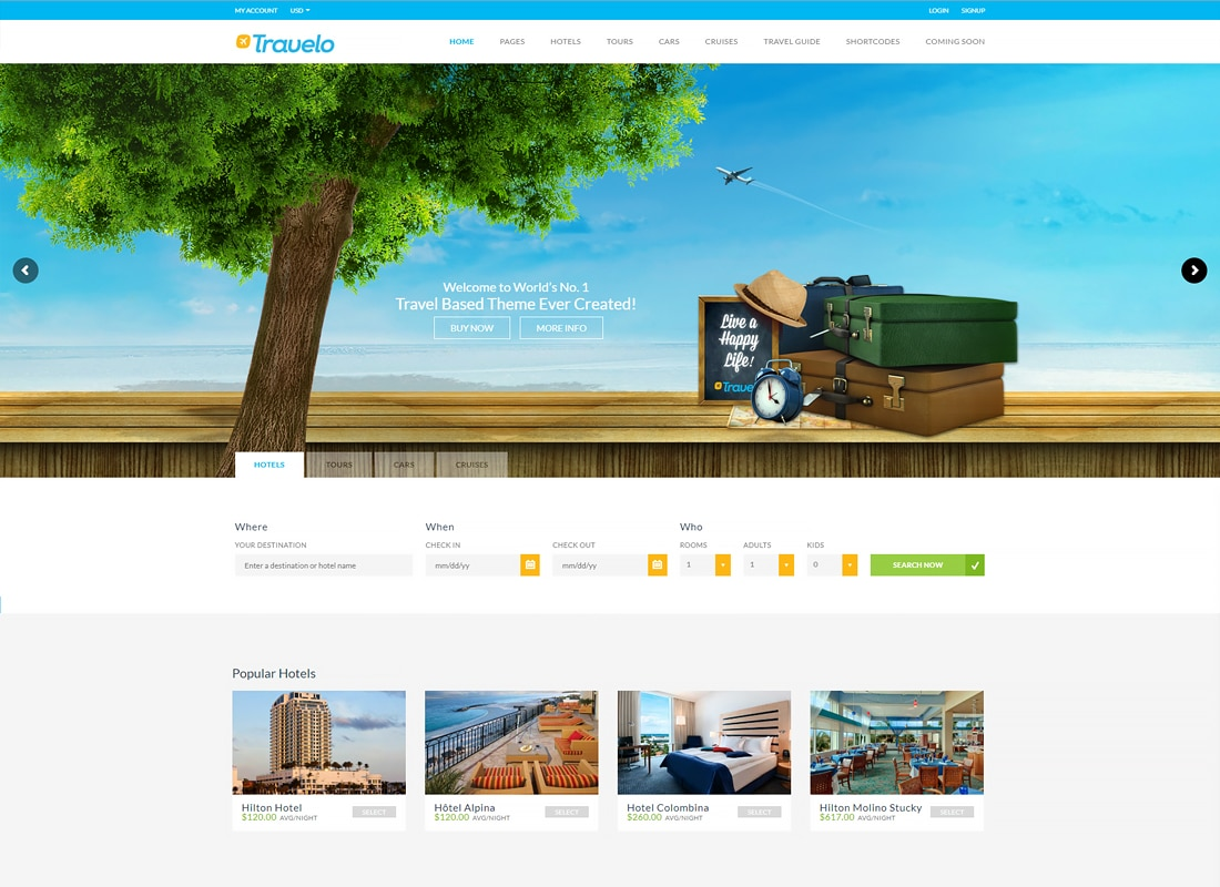 Travelo - Travel/Tour/Car Rental/Cruise Booking WordPress Theme Website Template