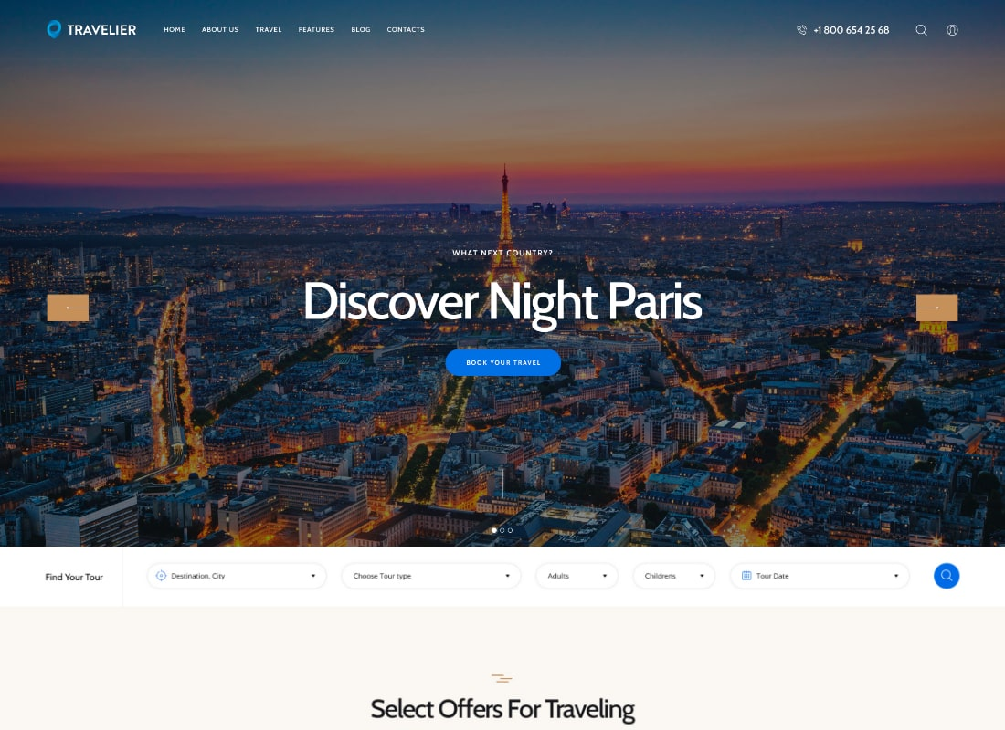 Travesia | A Travel Agency and Booking WordPress Theme Website Template