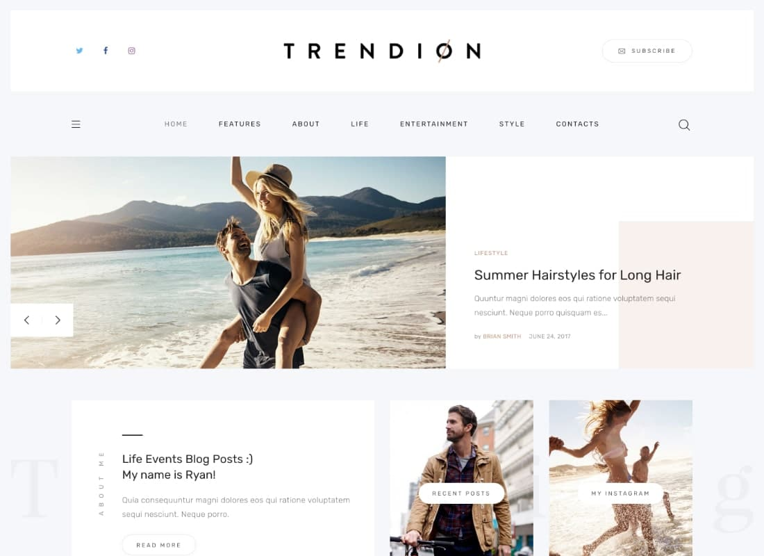 Trendion | A Personal Lifestyle Blog and Magazine WordPress Theme Website Template