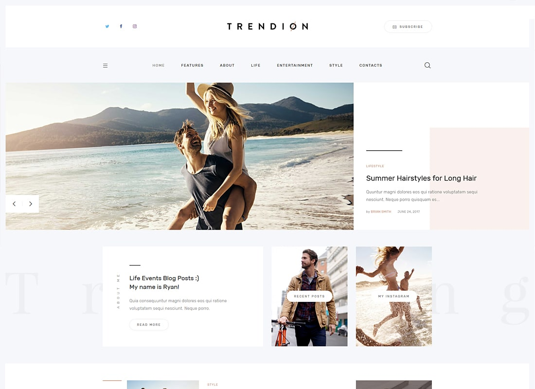 Trendion - A Personal Lifestyle Blog and Magazine WordPress Theme   Website Template